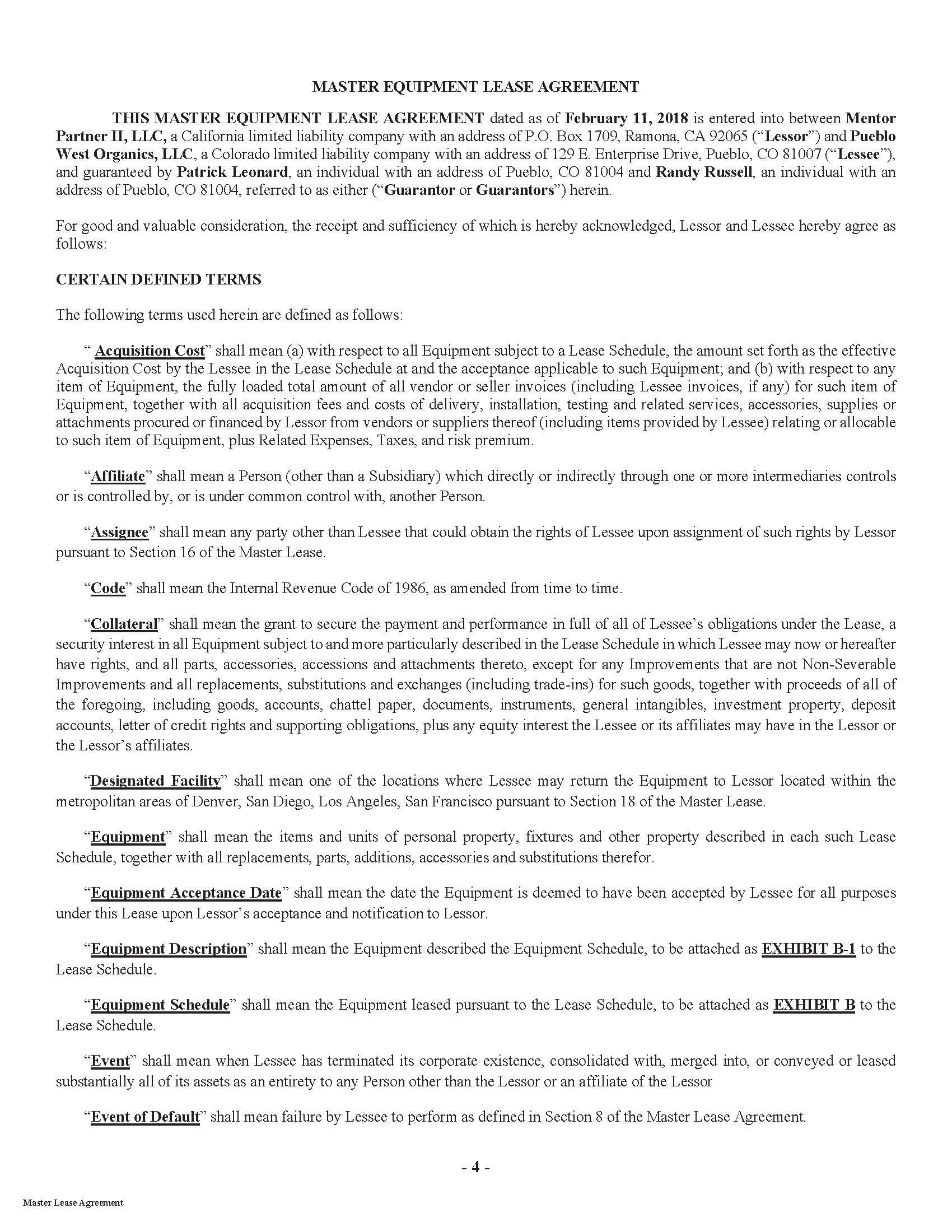 Exhibit 104 Pueblo Master Equipment Lease Agreement With Schedules